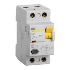 Выключатель дифференциальный (УЗО), ВД1 63, 2P, 50 A, 30 мA, MDV10 2 050 030, IEK