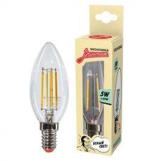 Лампа светодиодная ЭКОНОМКА EcoLedFL5wCNE1445 5Вт E14 450Лм 4500К свеча филамент