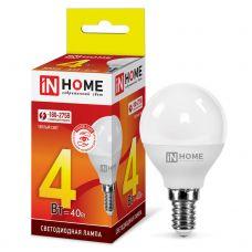 Лампа светодиодная IN HOME LED ШАР VC 4Вт 230В Е14 3000К 360Лм 4690612030517