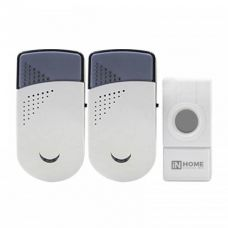 Звонок беспроводной ЗБН 6, 32 мелодии, 120 м, 2 звонка, подсветка, бело серый, 4690612013374, IN HOME