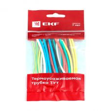 Трубка термоусадочная 4/2, набор (7 цветов по 3 шт), 10 см, tut n 4, EKF