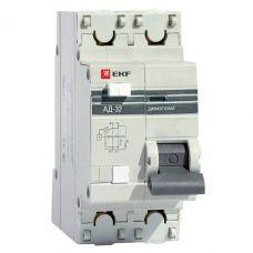 Дифференциальный автомат АД 32 1P+N 25А/30мА (хар. C, AC, электронный, защита 270В) 4,5кА EKF PROxima, арт. DA32 25 30 pro