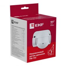 Микроволновый датчик движения EKF MW 702 белый 1200Вт 180гр. до 15м IP44, арт. dd mw 702