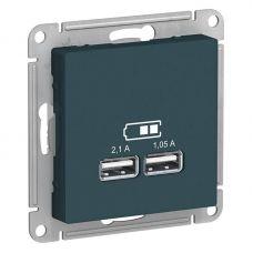 ATLASDESIGN USB РОЗЕТКА A+A, 5В/2,1 А, 2х5В/1,05 А, механизм, ИЗУМРУД, арт. ATN000833, Schneider Electric