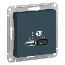 ATLASDESIGN USB РОЗЕТКА A+С, 5В/2,4А, 2х5В/1,2А, механизм, ИЗУМРУД, арт. ATN000839, Schneider Electric