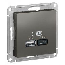 ATLASDESIGN USB РОЗЕТКА A+С, 5В/2,4А, 2х5В/1,2А, механизм, СТАЛЬ, арт. ATN000939, Schneider Electric