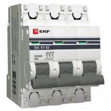 Автоматический выключатель 3P 63А (C) 4,5kA ВА 47 63 EKF PROxima, арт. mcb4763 3 63C pro