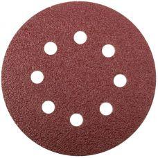 Круги шлифовальные с отверстиями (липучка), алюминий оксидные, 125 мм, 5 шт.  Р 36     FIT