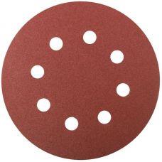 Круги шлифовальные с отверстиями (липучка), алюминий оксидные, 125 мм, 5 шт. Р 120     FIT