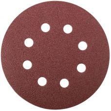 Круги шлифовальные с отверстиями (липучка), алюминий оксидные, 125 мм, 5 шт.  Р 80     FIT