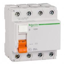Выключатель дифференциальный (УЗО), ВД63 Домовой, 4P, 25 А, 30 mA, 11460, Schneider Electric