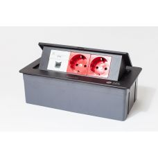300013 Люк на 3 поста (45х45), металл, черный с пластиковой коробкой, IP40