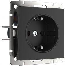 Розетка с заземлением (черный матовый), артикул WL08 SKG 01 IP20, Werkel