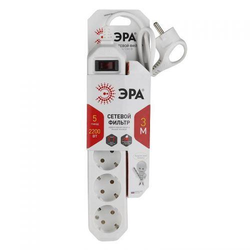 Сетевой фильтр ЭРА USF 5es 3m W, с зазем., с выкл., 3 м, 5 гн, 0,75 мм², 10 А, Б0019033