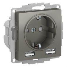 ATLASDESIGN РОЗЕТКА 16А c 2 USB A+A, 5В/2,4А, 2х5В/1,2А, механизм, СТАЛЬ, арт. ATN000930, Schneider Electric