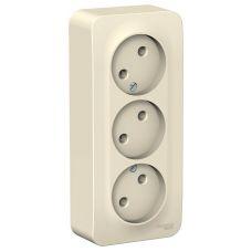 Розетка трёхместная без з/к, ОУ, 16А, молочная, BLANCA, арт. BLNRA000312, Schneider Electric