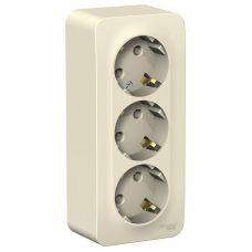 Розетка трёхместная с з/к, ОУ, 16А, молочная, BLANCA, арт. BLNRA010312, Schneider Electric