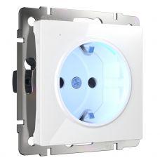 Розетка с заземлением и подсветкой (белая) W1171401