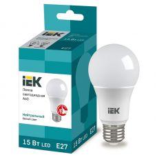 Лампа светодиодная IEK A60 груша 15Вт 4000К E27 230В 1350Лм LLE A60 15 230 40 E27
