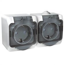 Розетка двойная с з/к, шторки, ОУ, 16А, IP44, белая, ЭТЮД, арт. PA16 244B, Schneider Electric