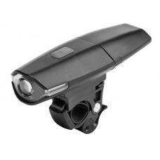 Фонарь велосипедный передний JY 187, 1 LED, 2 режима, подзарядка, черный, пластик, арт. 560091, STELS