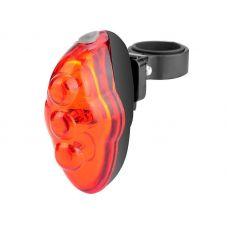 Фонарь велосипедный задний JY 117T, 5 LED, 3 режима, 2xAAA, красно черный цвет, арт. 560037, STELS
