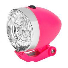 Фонарь велосипедный передний JY 592 на вилку, 3 LED, 1 режима, 3xAAA, серебристо розовый, арт. 560154, STELS