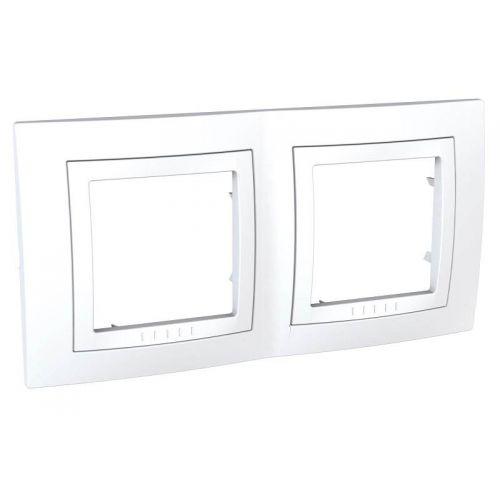 Рамка 2 х постовая, с декоративным элементом, белая, UNICA, арт. MGU2.004.18, Schneider Electric