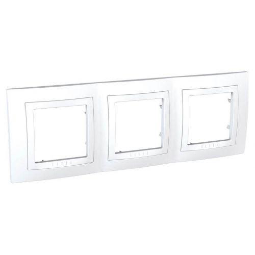 Рамка 3 х постовая, с декоративным элементом, белая, UNICA, арт. MGU2.006.18, Schneider Electric