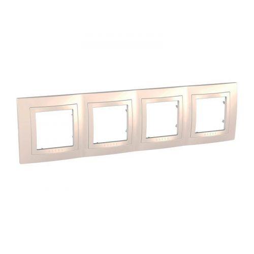 Рамка 4 х постовая, с декоративным элементом, бежевая, UNICA, арт. MGU2.008.25, Schneider Electric