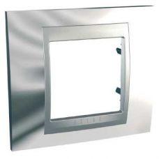 Рамка 1 постовая, хром/алюминий, Unica Top, арт. MGU66.002.010, Schneider Electric