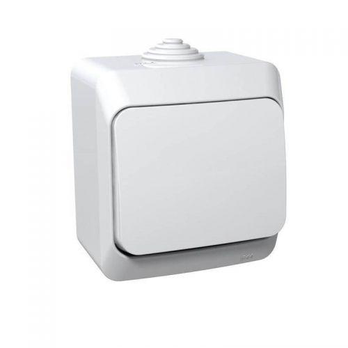 Переключатель 1 клавишный, ОУ, IP44, 10 АХ, белый, ЭТЮД, арт. BA10 046B, Schneider Electric