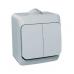 Выключатель 2 клавишный, ОУ, IP44, 10 АХ, серый, ЭТЮД, арт. BA10 042C, Schneider Electric