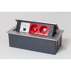 300010 Люк на 3 поста (45х45), металл, серебро, с пластиковой коробкой, IP40