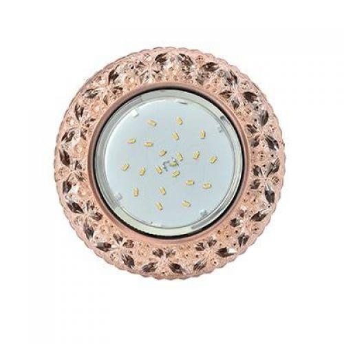 Светильник встраиваемый Ecola H4 LD7040, FL53PBEFB, GX53, искристый с подсветкой Бабочки, Светло золотистый/Черненая медь