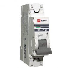 Автоматический выключатель 1P 63А (C) 4,5kA ВА 47 63 EKF PROxima mcb4763 1 63C pro