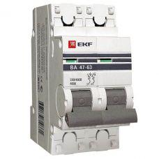 Автоматический выключатель 2P 63А (C) 4,5kA ВА 47 63 EKF PROxima mcb4763 2 63C pro