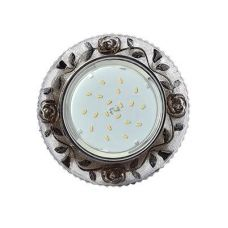 Светильник встраиваемый Ecola H4 LD7071, FK53CREFB, GX53, искристый с подсветкой Розы, Прозрачный и Черный/Хром