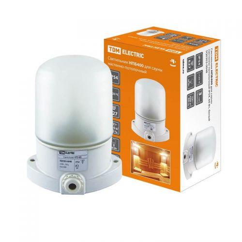 Светильник для бани/сауны НПБ400 настенно потолочный белый 60Вт IP54 SQ0303 0048 TDM Electric