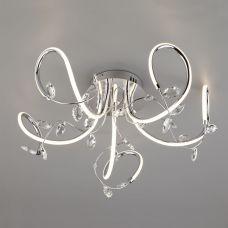 Светодиодный потолочный светильник с хрусталем 90106/5 хром, Eurosvet