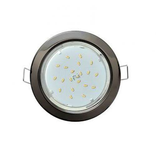 Светильник встраиваемый Ecola H4, FB53P2ECB, патрон GX53, Черный Хром, без рефлектора, уп/2 шт