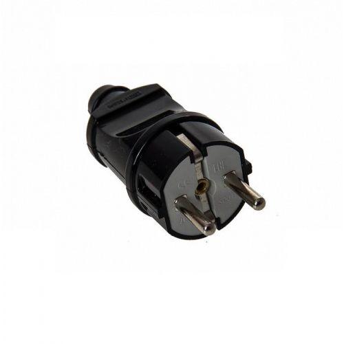 Вилка прямая с з/к, 16 А, 2Р+Е, черная, арт. SQ1806 0004, TDM Electric
