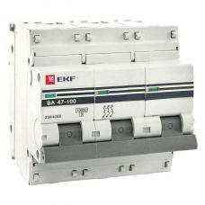 Автоматический выключатель 3P 100А (C) 10kA ВА 47 100 EKF PROxima, арт. mcb47100 3 100C pro