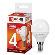 Лампа светодиодная LED ШАР VC 4Вт 6500К Е14 360Лм 4690612030555 IN HOME