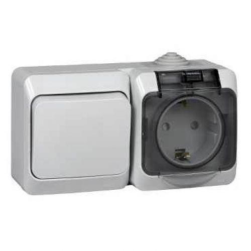 Блок: розетка с з/к, шторки, крышка + выкл. 1 кл., ОУ, IP44, серый, ЭТЮД, арт. BPA16 241C, Schneider Electric
