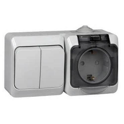 Блок: розетка с з/к, шторки, крышка + выкл. 2 кл., ОУ, IP44, серый, ЭТЮД, арт. BPA16 242C, Schneider Electric