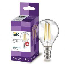 Лампа светодиодная IEK серия 360° G45 шар 7Вт 4000К E14 230В прозрачная LLF G45 7 230 40 E14 CL