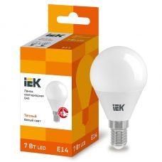 Лампа светодиодная IEK G45 шар 7Вт 3000К E14 230В 630Лм LLE G45 7 230 30 E14