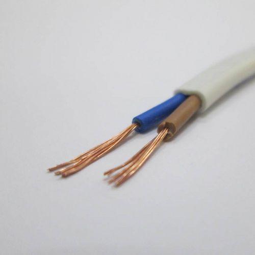 Шнур соединительный (провод) ШВВП 2х0,5 мм², белый, плоский, ГОСТ