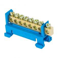 Шина 0 N (6х9мм) 8 отверстий латунь синий изолятор тип Стойка на DIN рейку EKF PROxima, sn0 63 8 sb